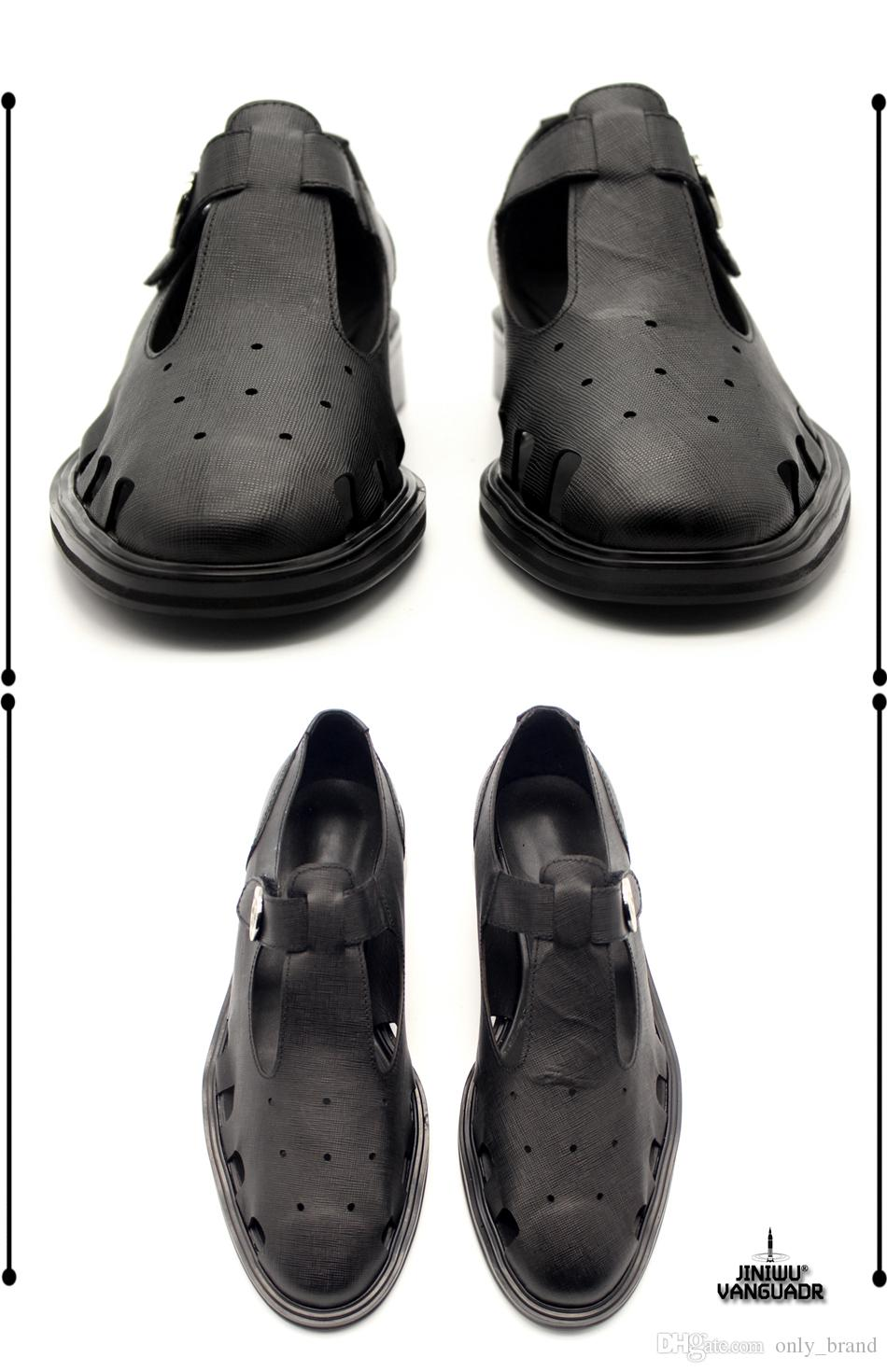 Yaratıcı Retro Cut-Çıkışları Nefes Erkek Sandalet T-şekilli Toka Konfor Kabartmalı Deri Ayakkabı Cilt Serin