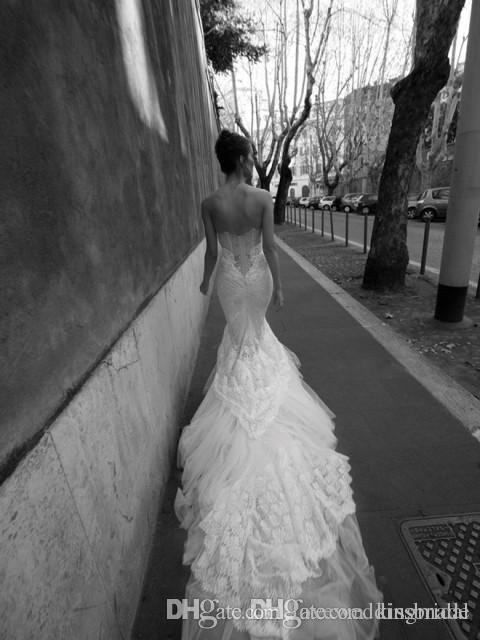Gorgeous Mermaid Full Lace Wedding Dresses 2017 Sweetheart Backless Slim Corset Bodice Illusion Tiers Trimed Fish Tail Bridal Gowns