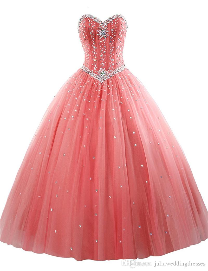 2017 Sexy Cheap Tulle Ball Gown Quinceanera Dresses with Beaded Crystals Sweet 16 Gown Lace Up Floor Length Vestido De Festa BM77