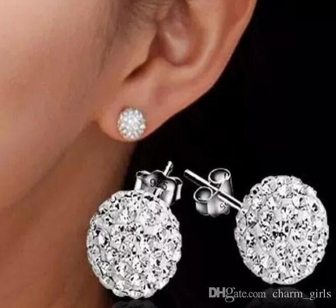 Fashion plating 925 Sterling Silver 6mm 8mm 10mm 12mm CZ Crystal disco ball Stud Earrings mark 925 Mix colors