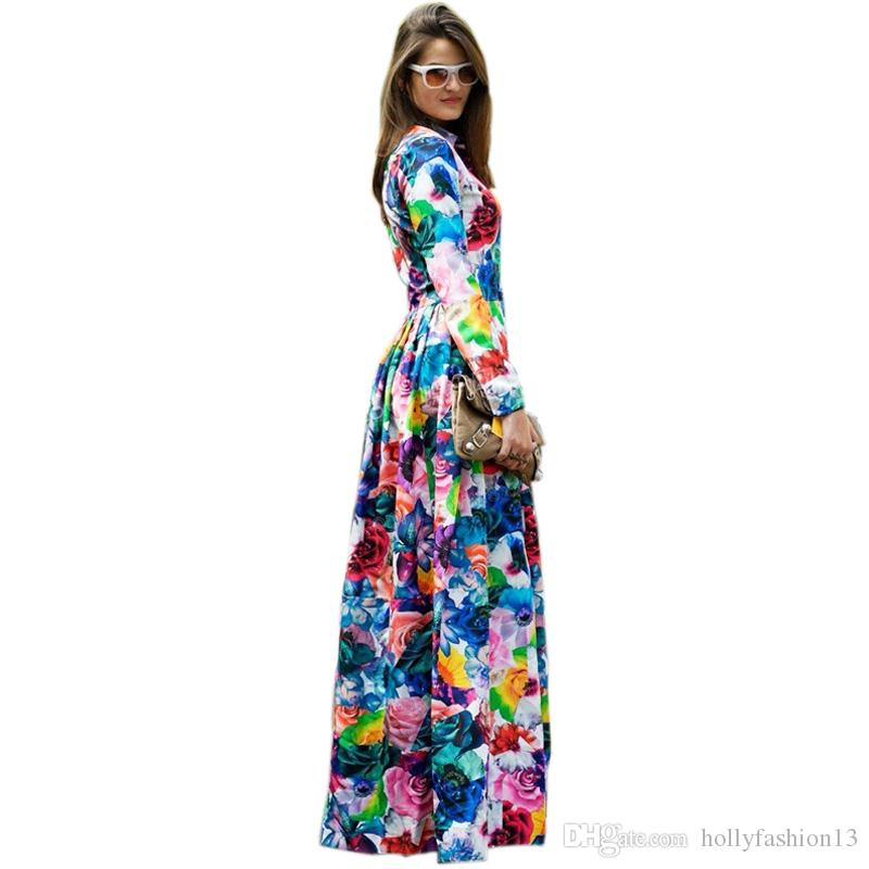 26b41733df34 Acquista Taglie Forti S 4XL European American Style Women Runway Maxi Long  Dress Fiori Colorati Stampati Bohemian Abiti Da Donna Vestidos A  53.27 Dal  ...