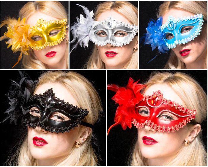 maschere veneziane maschere mascherate maschere facciali maschere di halloween festa di ballo multi colori rosso / oro / argento