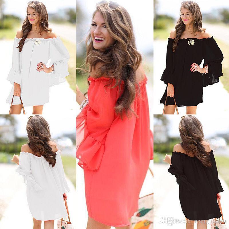 f3b719f9397f Acquista Abbigliamento Donna LADIES CHIFFON MINI ABITO OFF SPALLA KIMONO  SLEEVE SIZE 8 10 12 14 16 18 20 A  35.9 Dal Wangjiahao