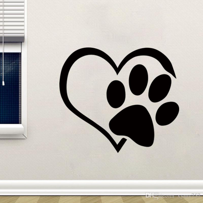 2017 Hot Sale Heart Dog Cat Paw Vinyl Wall Sticker Quotes Living Room Home Decor Animals Decals Art Mural Diy