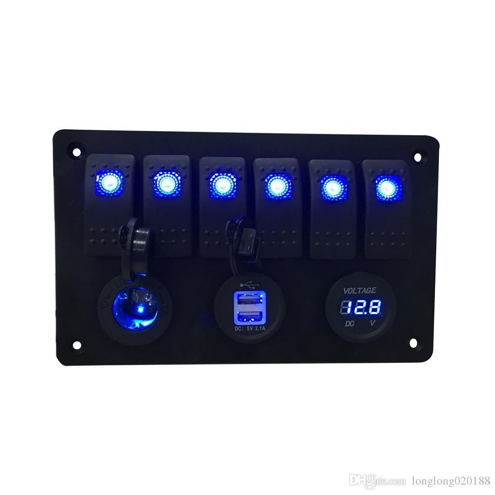 Voltímetro digital + Toma de corriente de 12 V + Doble adaptador de cargador de alimentación USB Aluminio de montaje empotrado azul Interruptor basculante de 6 bandas Panel Negro RV Barco de coche
