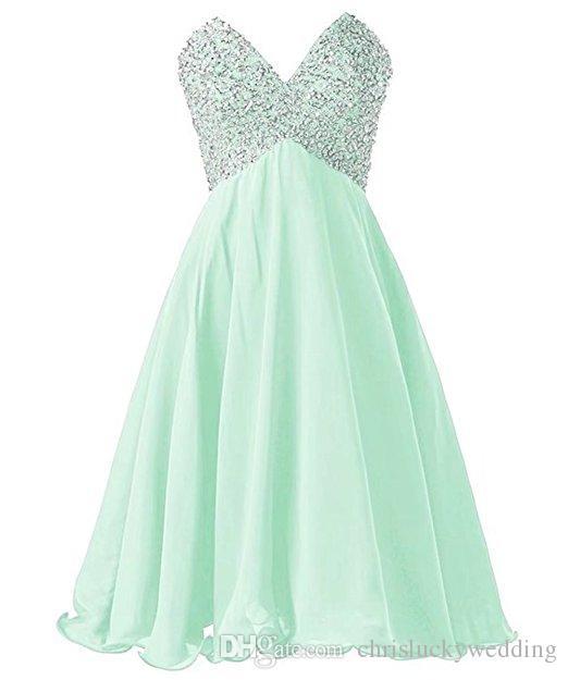 0e53ee50684b9 Satın Al Ucuz Şifon Kısa Gelinlik Modelleri Sevgiliye Balo Örgün Parti  Törenlerinde Elbiseler Mor Fırfır Düğün A Line Elbiseler Diz Boyu Elbise,  ...