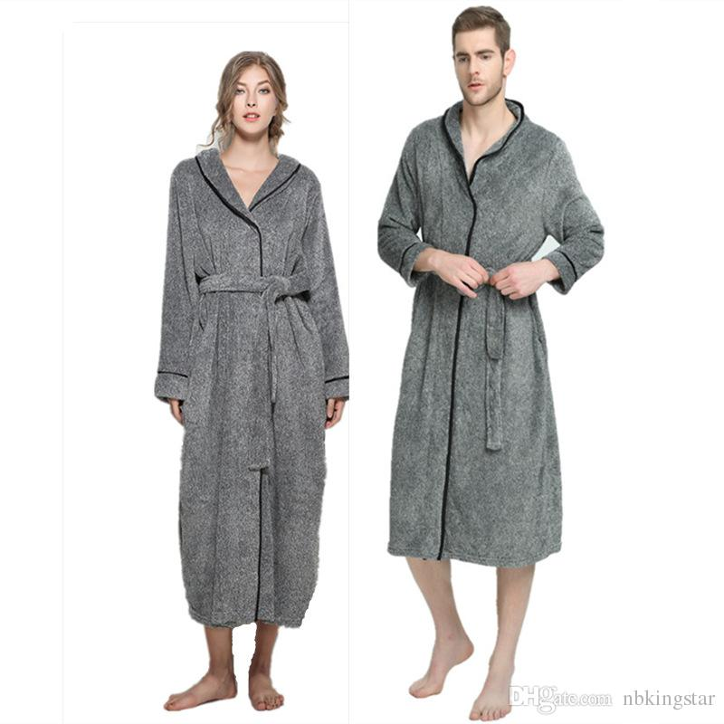 2019 Winter Grey Fleece Unisex Bathrobe Peignoir Nightgowns Robes Sleepwear Towel  Bath Robe Dressing Gown For Women Men XL 5XL From Nbkingstar 5de3eb88c