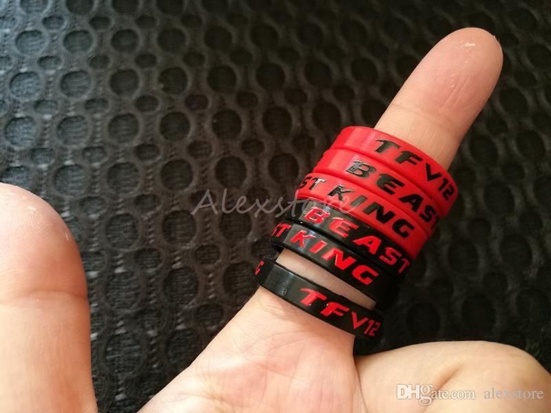 TFV12 BEAST KING Banda de silicona Vape Negro Rojo Belleza decorativa de silicona 23.7 * 5mm para Smok Smoktech TFV12 Vape Mod e-Cig Accesorios