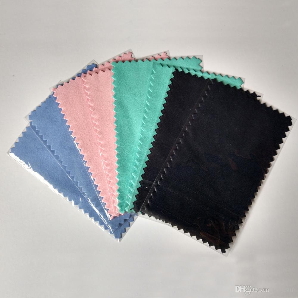 Bränna 11x7cm silver polering tyg för silver gyllene smycken lysande renare svart blå rosa gröna färger bästa kvalitet opp väska packning