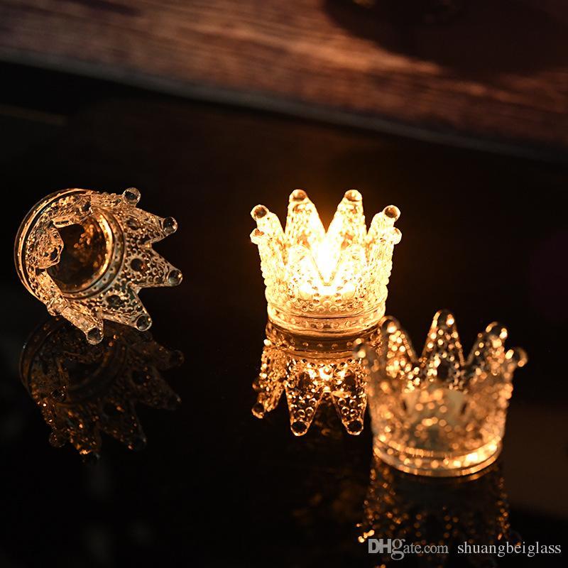 Decoración de bodas o fiestas de calidad superior hecha a mano de cristal artificial de cristal corona candelabro