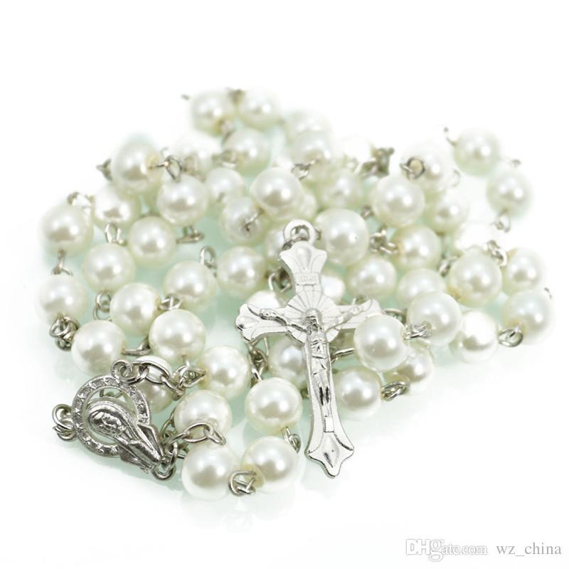 Negro / Blanco Collar de Perlas Cadena de Oro Blanco Para Hombre de Las Mujeres Rosario Rosarios 6 MM Cruz Religiosa Collar de Regalo de Navidad