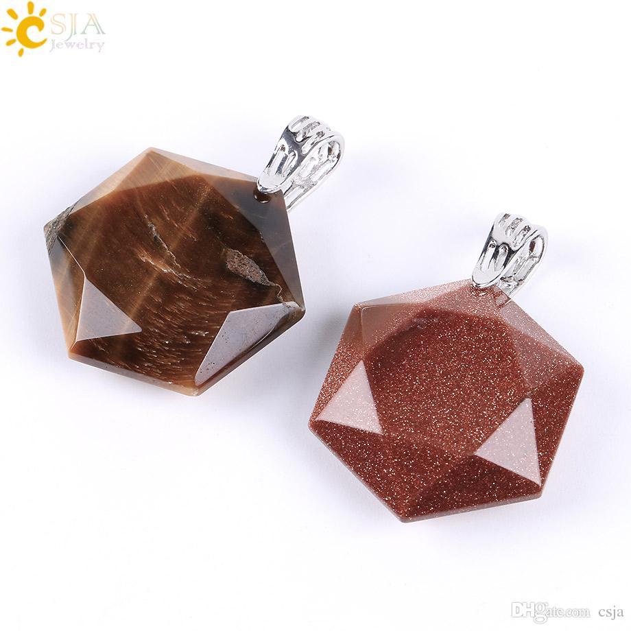 CSJA ограненные звезды шестиугольник очаровательная ожерелье подвески для мужчин Женщины исцеление баланс рейки натуральный камень зеленый нефрит ювелирные изделия E643 A