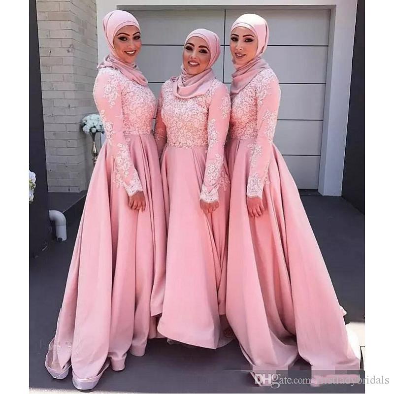 Compre 2017 Rosa Musulmán Vestidos De Dama De Honor Con Apliques De ...