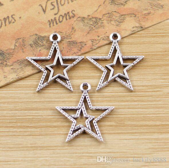 metal zinc alloy Star Charms Antique silver for DIY jewelry pendant Charms Making Finding 20x20mm