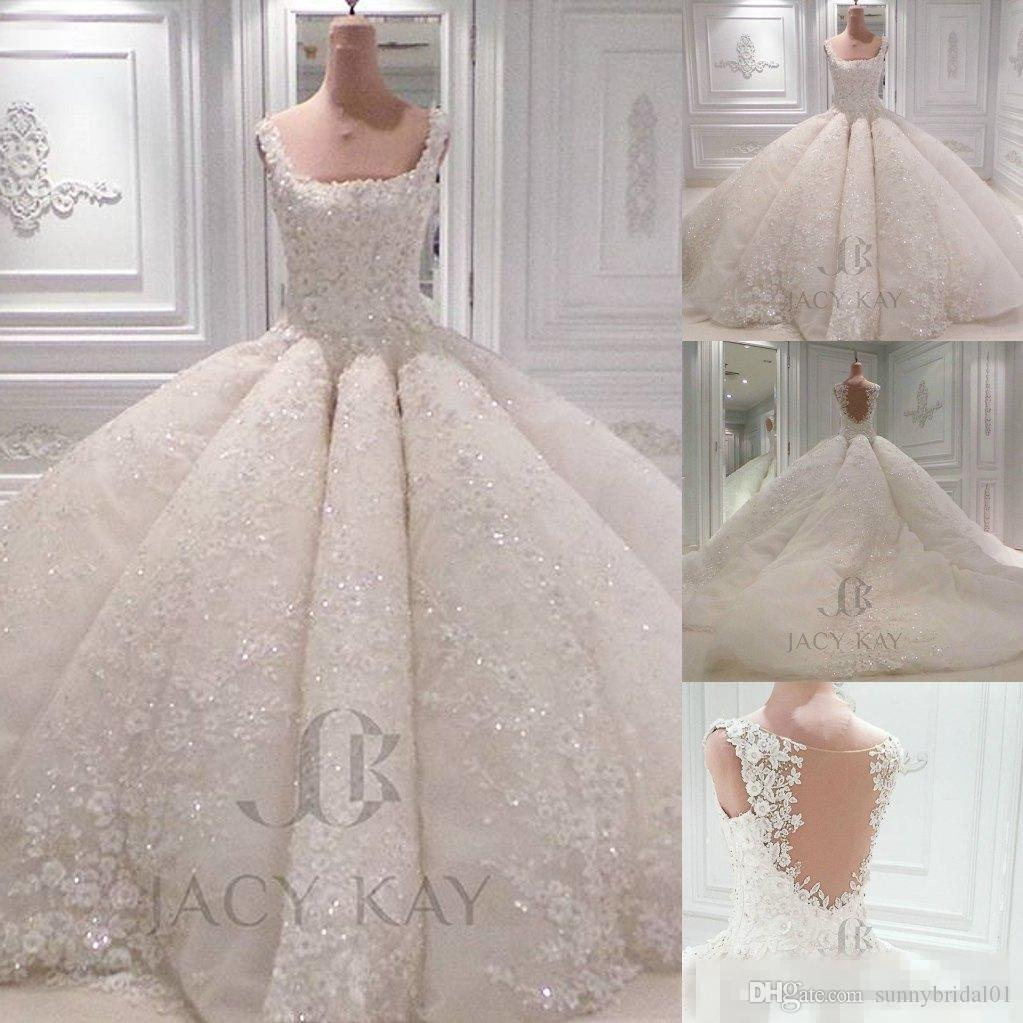 Luxury Ball Gown Wedding Dresses 2017 Vintage Lace Sequins Square Neck Sheer Back Big Puffy Handmade Flowers Custom Made Bridal Gowns A Line