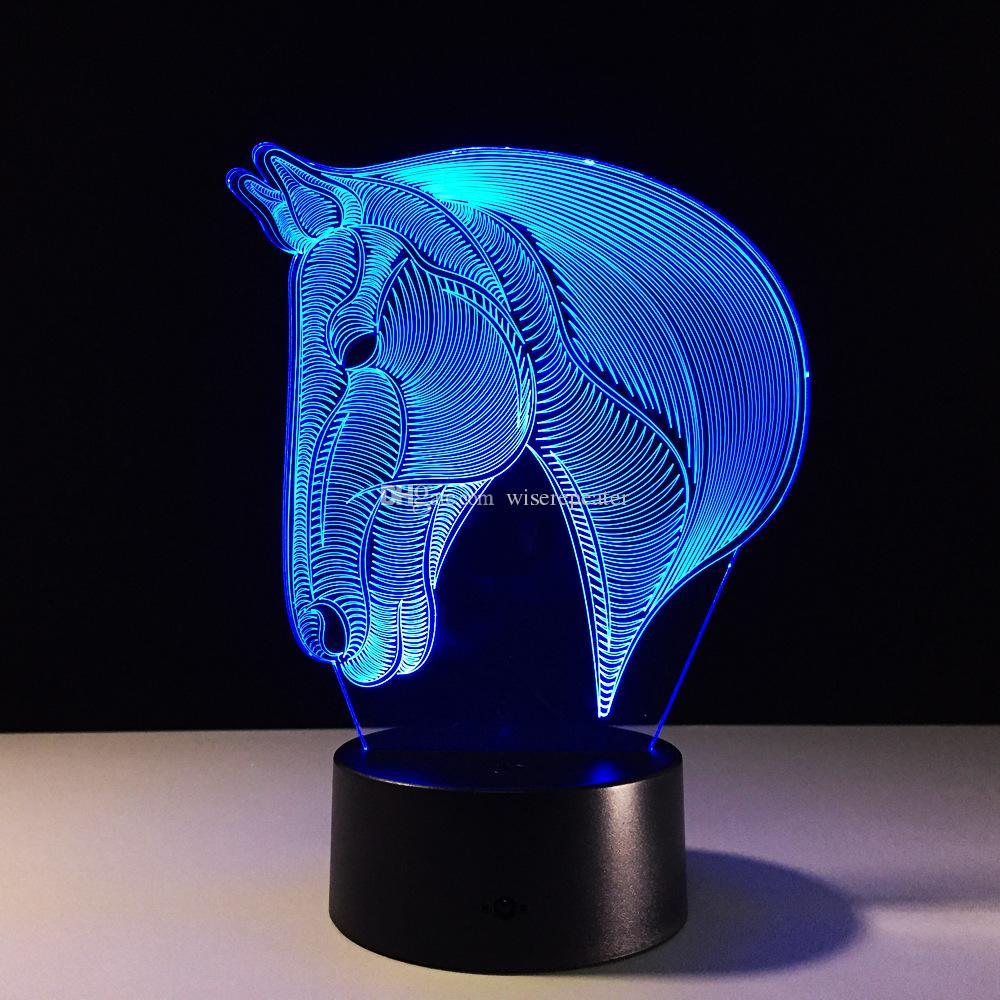 2017 Horse Head 3D Optical Illusion Lamp Night Light DC 5V USB Charging AA Battery Dropshipping
