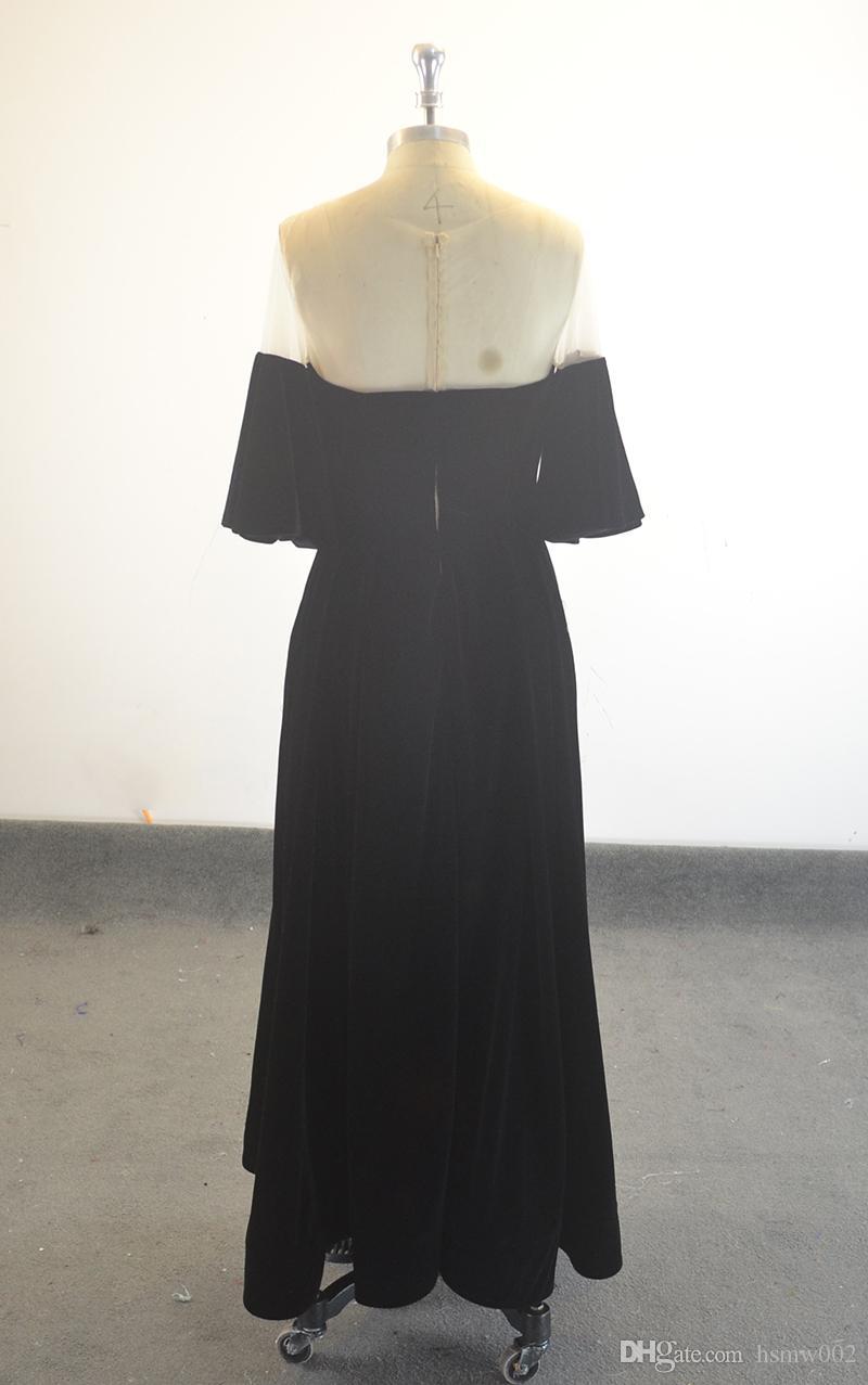 Robe De Soiree Courte Velvet Arabic Evening Dresses Sweetheart Neck Short Sleeves A-line Short Women Formal Evening Gowns