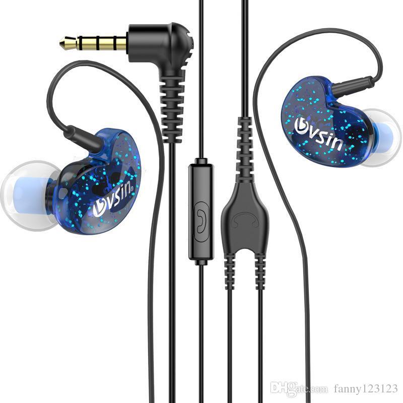 3.5mm stéréo musique écouteurs sport en cours d'exécution casque en oreille basse écouteurs avec micro écouteur pour iphone sansumg.