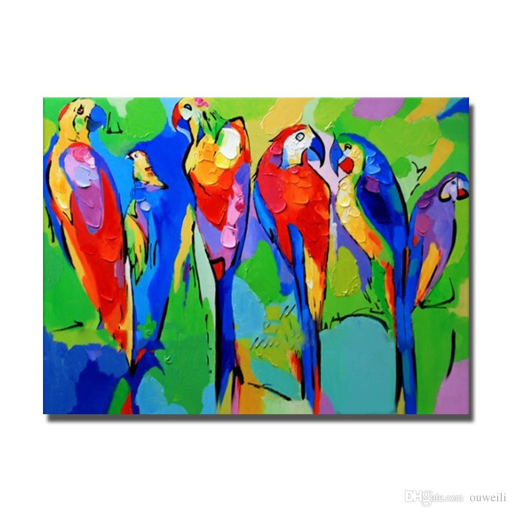 Free shipping hand painted top quality cartoon birds picture wall decorative design parrot animal oil painting