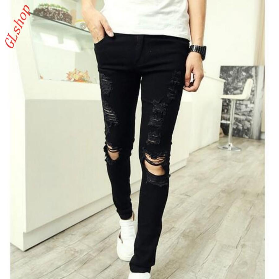 0b5d97381 2019 Wholesale New Stylish Retro Mens Skinny Street Cotton Ripped Jeans  Pants Cool Boys Slim Fit Trousers Cowboy Jeans White From Superwonderland,  ...