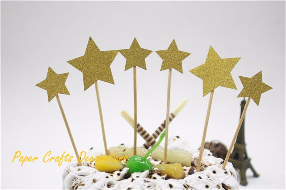 2019 Wholesale Set Of Gold Glitter Stars Party Cake Topper Kit Personalized Wedding Baby Birthday Cupcake Decorations From Walkerstreet 1939