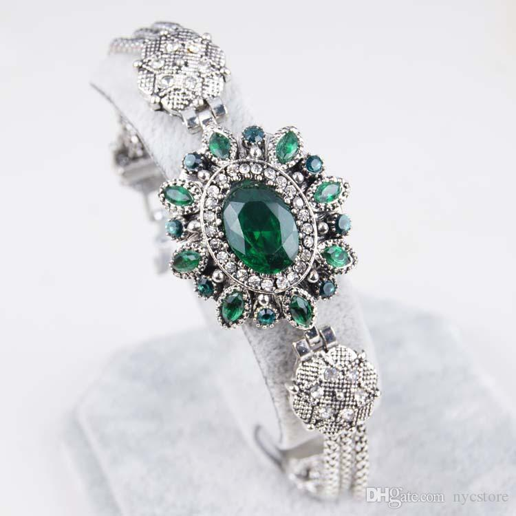 Turkish Bracelets Vintage Jewelry Antique Silver Plated Green Bracelet Bangles Acessorios