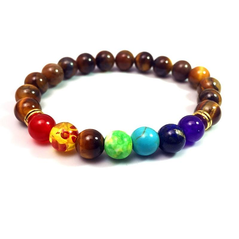 Natural Agate Lava Rock Stone 8mm Colorful Energy Chakra Beads Reiki Buddha Strands Bracelet Natural Gem Stone Mala Bracelet