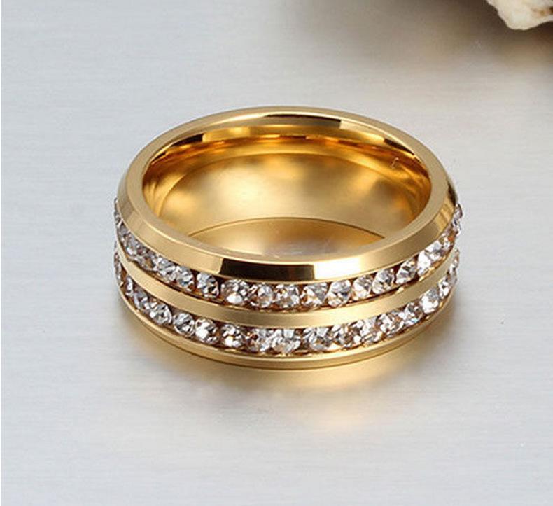 الأزياء 18 كيلو الذهب والفضة مطلي الفولاذ المقاوم للصدأ اثنين من الصفوف النمساوية كريستال خواتم للرجال النساء عشاق خواتم الاصبع الرجال الدائري مجوهرات الزفاف