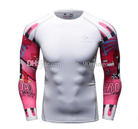 Football Tattoo grain arm fitness training speed dry clothing tights superman sporting t shirts male play high absorbent workout clothes