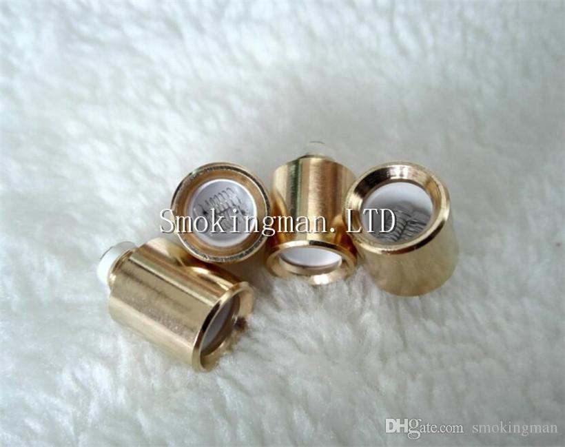 Altın Çift Kuvars Bobinleri cam küre balmumu kuru ot buharlaştırıcılar için yedek ShiSha su Topları Bowling kafatası Atomizer Çift Balmumu Bobin Kafası