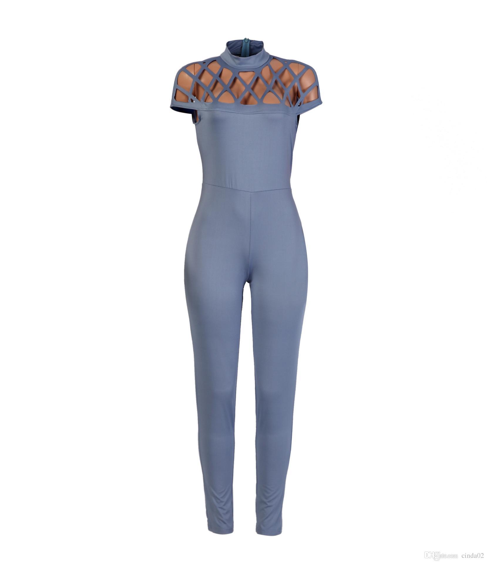 Bayan Moda Gerdanlık Yüksek Boyun Kafesli Kollu Oyun takım elbise 2017 Yeni Uzun Tulum Kadın Tulumlar Yaz kadın Kısa Kollu Bodysuits