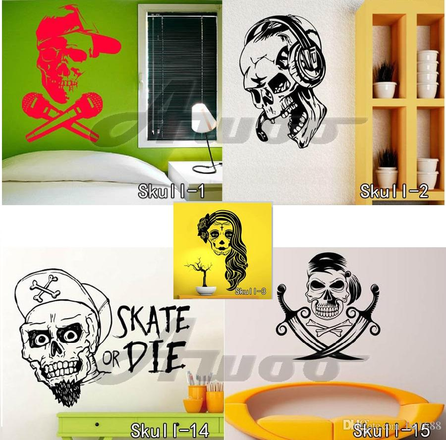 Sugar Skull Wall Stickers Vinyl Removable Skull Wall Sticker ...