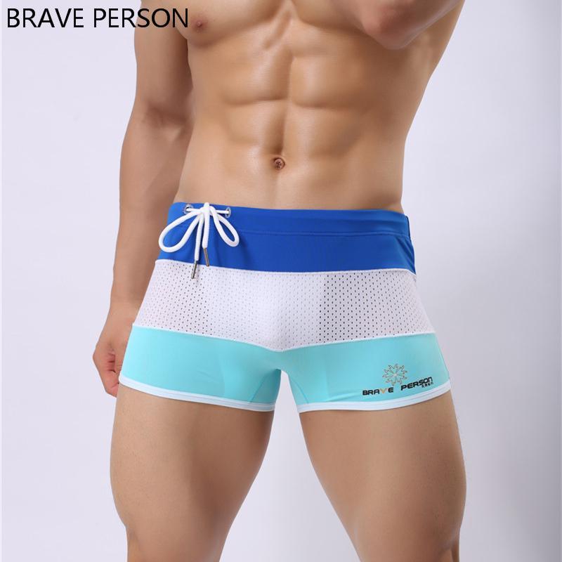 e6476fa0f0 2019 Wholesale BRAVE PERSON Ay Men Swimwear Sexy Swimming Trunks Sunga  Swimsuit Plus Size Swim Shorts Bathing Patchwork 2017 Boxer Bulge From  Sheju, ...