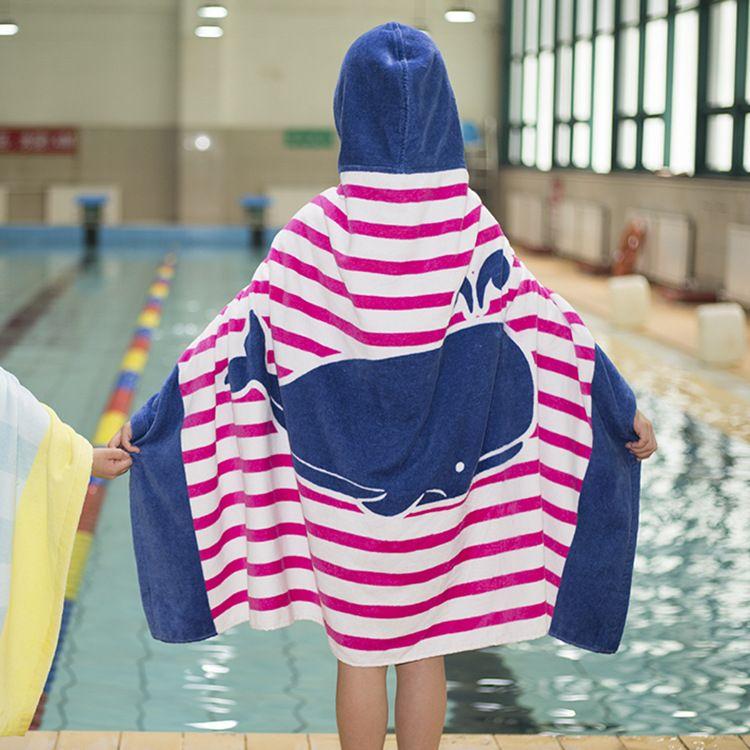 f051cfd546 Cartoon Shark Kids Baby Hooded Bath Towel Children Bathrobe with ...