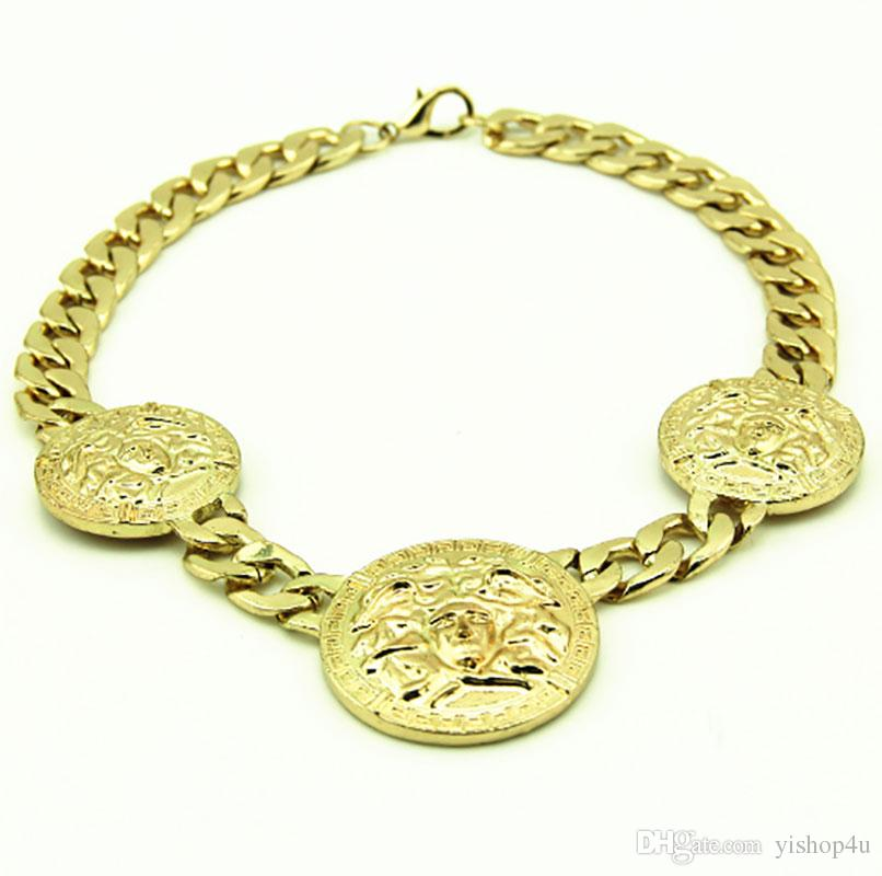 Wholesale new mens 3 medallion gold rapper link chain pendant wholesale new mens 3 medallion gold rapper link chain pendant 18necklace gold name necklace mens gold chains from yishop4u 1304 dhgate aloadofball Choice Image