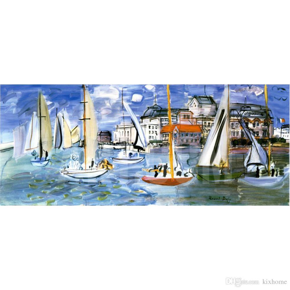 Dipinti di barche Raoul Dufy Regates Dans le Port de Trouville Paesaggi  marini sull arte moderna su tela dipinto a mano di alta qualità