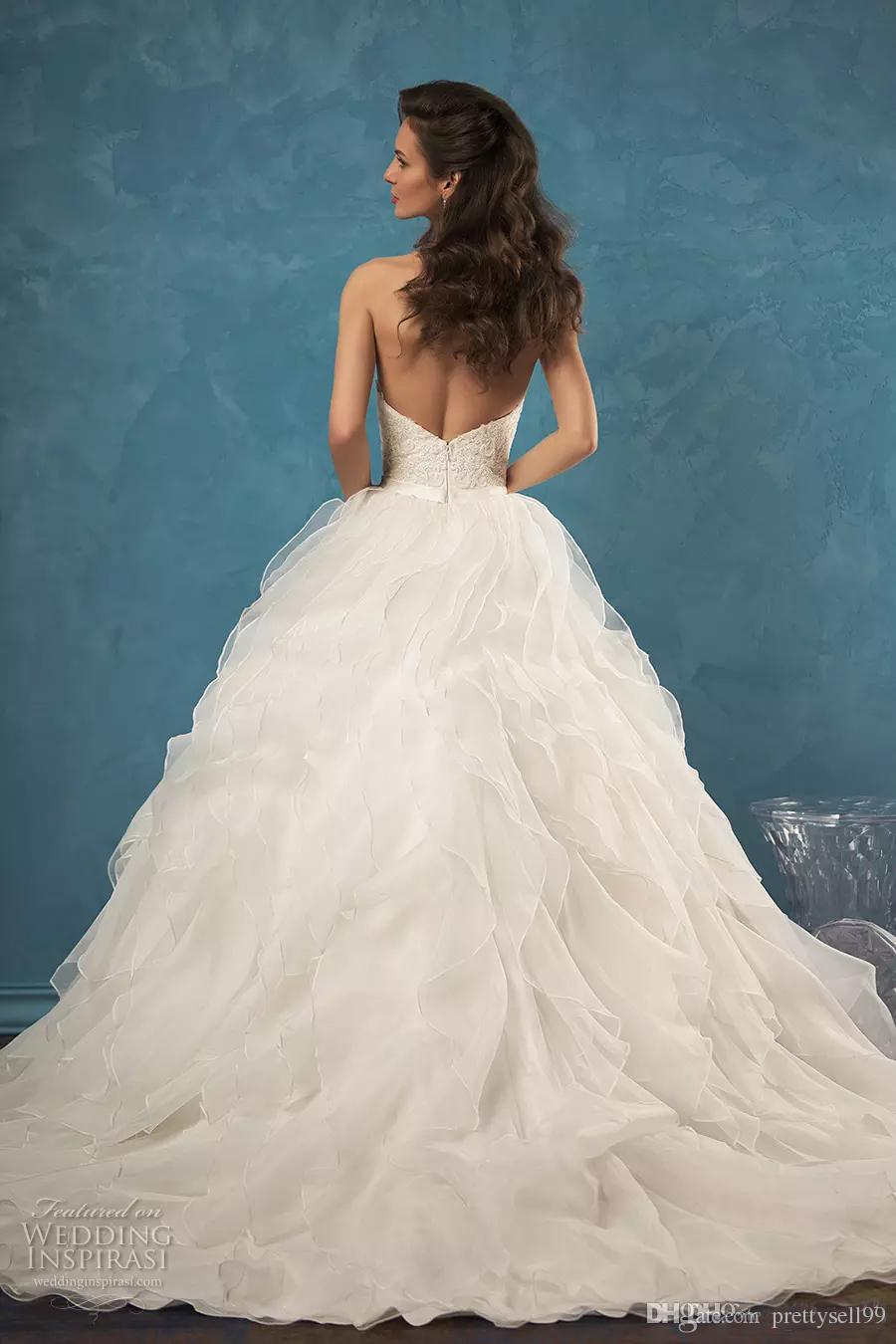 New Amelia Sposa Sexy Lace Wedding Dresses 2018 Sweetheart Strapless Beautifully Organza A-Line Custom Made Wedding Bridal Gowns