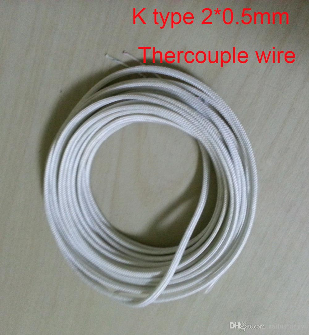 2018 2*0.5mm K Type Fiberglass Coated Thermocouple Wire 20 M / From ...