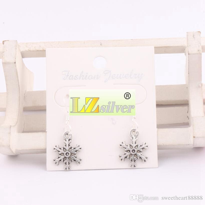 925 Silver Arched Snowflake Dangle Chandelier Earrings 14.4x35.1mm E794