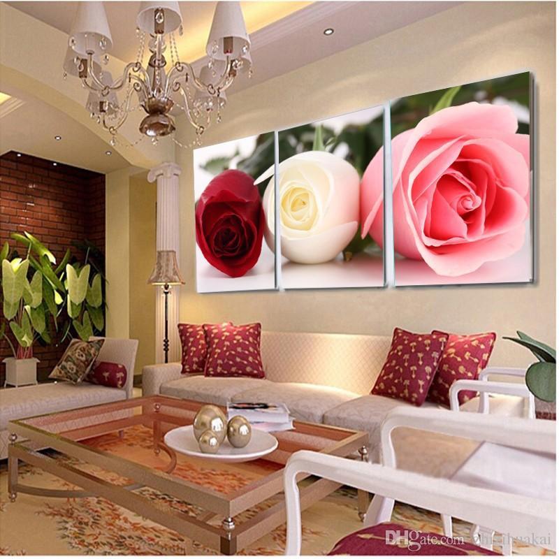 3 pièces Moderne Peinture Murale Les roses belle fleur photo mur art huile Peinture Accueil Décoratif Art Photo Toiles Impressions
