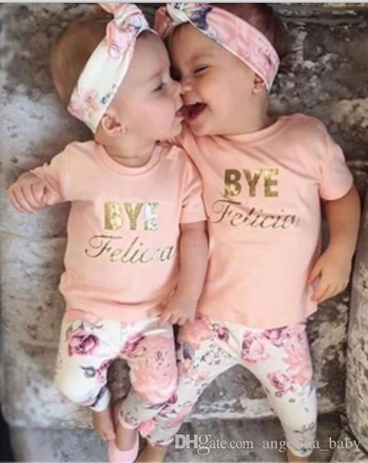 New INS baby girl pink letters printed T shirt +floral leggings +headband 3 pcs suits Summer Princess Sets Free Shipping
