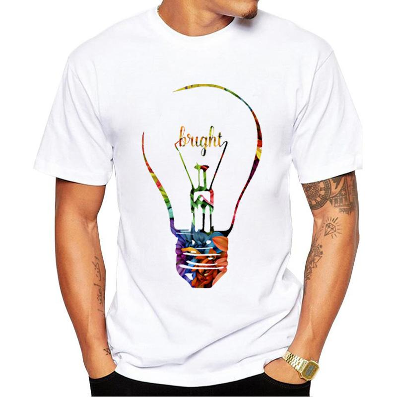 2017 Fashion Bright Idea Lightbulb Print T Shirts Mens Shirt Person Light Bulb Brilliant