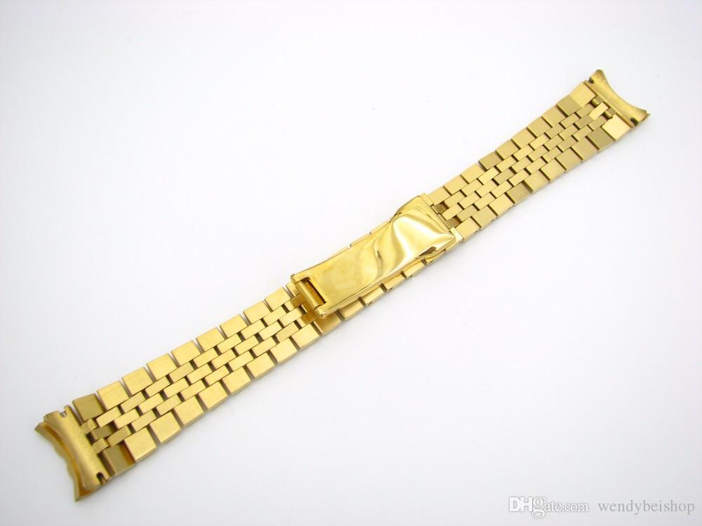 Carlywet 20mm 316L Edelstahl Jubiläum Silber TwoTon Gold Armbanduhrband Armband Armband Feste Schraube Links gekrümmt Ende