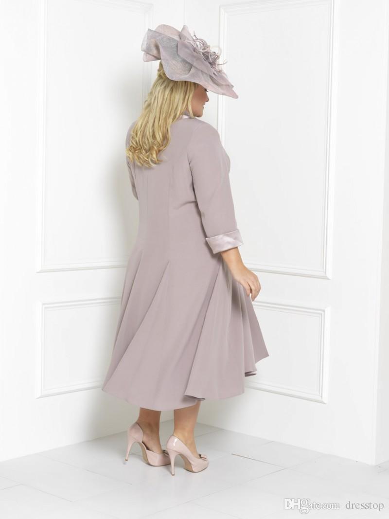 Plus Size Mãe Da Noiva Vestidos Mangas Chá Comprimento Da Colher Pescoço Convidado Do Casamento Vestido Personalizado Mães Noivo Vestido Com Jaqueta Longa Livre