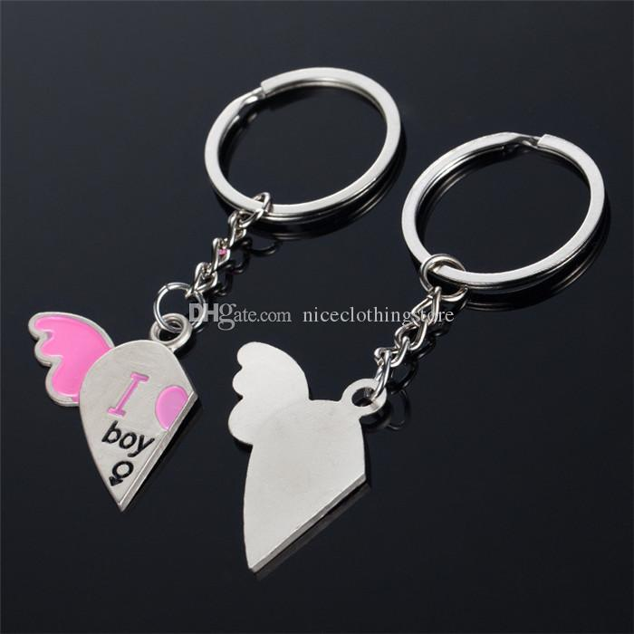 I Love You Boy Girl Pink Heart Wings Metal Alloy Keychain Couples Key Chain Pendant Keyring Keychains Wedding Gift Birthday Gift