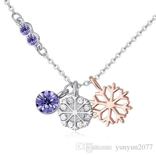 Sale Luxury High-grade Fine Jewelry Accessories Sweet Austrian Crystal Snowflake Circle Pendants Real Gold Charm Chokers Necklaces For Women