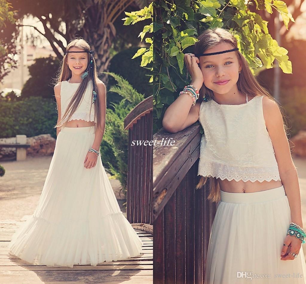 Boho Chic Wedding Flower Girl Dresses Two Pieces Lace Top Mermaid ...