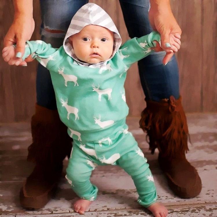 خريف الخريف الوليد بيبي بوي الفتيات ملابس لطيف عيد الميلاد قمم الغزلان مقنع + مخطط طويل بنطلون 2 قطع الزي الاطفال ملابس مجموعة