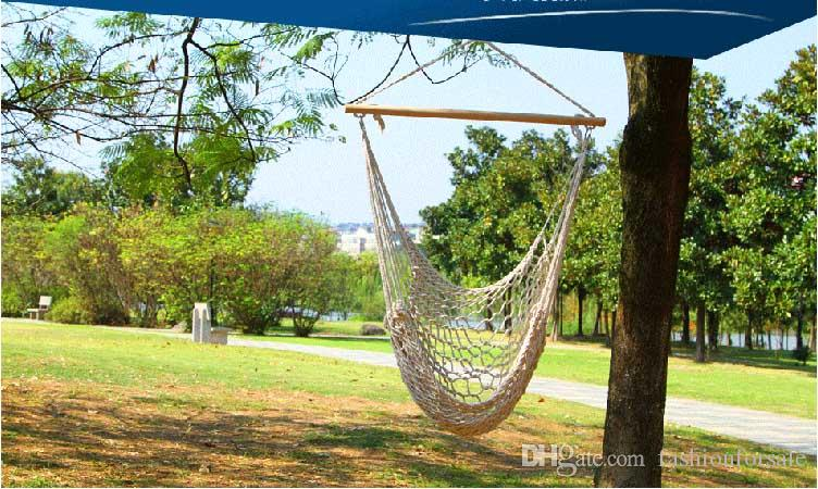 2017 Travel Camping Outdoor Hammock Chair Hanging Chairs Swing Cotton Rope  Net Swing Cradles Kids Adults Outdoor Indoor Swing Seat Chairs Hammock From  ...