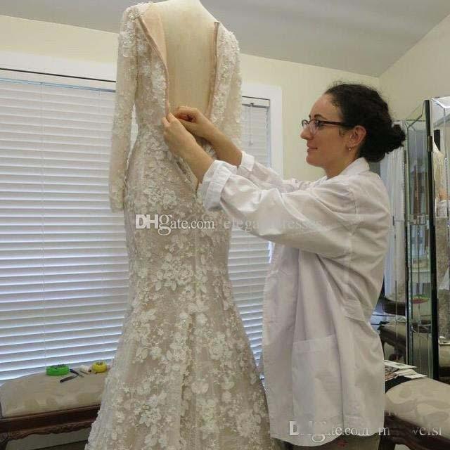 2021 Vintage Sirena Árabe Vestidos de novia de manga larga 3D-Floral apliques Cristal Muslimes Vestidos nupciales Tren de barrido Vestido de novias